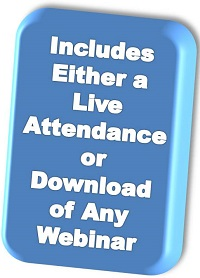 Webinar passport includes either a live attendance or a download of any program